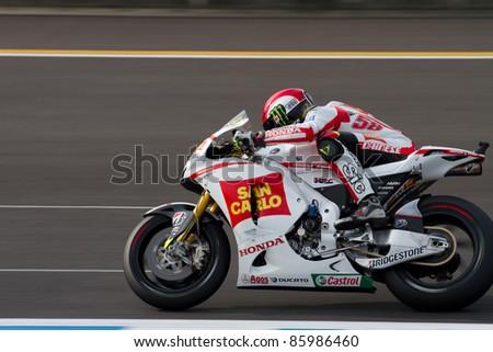 MOTEGI, JAPAN - SEPTEMBER 30: Italian Honda rider Marco Simoncelli during free practice at 2011 MotoGP of Japan on September 30, 2011 in Motegi, Japan. - stock photo