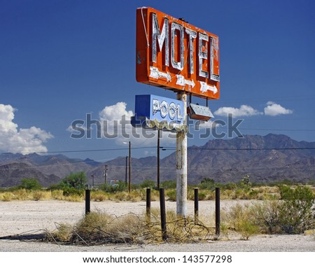 Motel sign. Photo taken along Route 66 in Arizona, USA. - stock photo