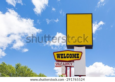 Motel sign saying there is vacancy - stock photo