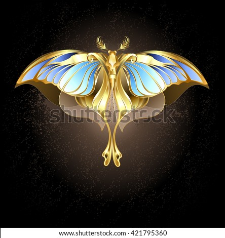 Moth of gold and bronze with glass, blue wings on a dark background.Design with butterflies. Golden Butterfly. Bright butterfly  - stock photo
