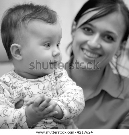 mother and baby, black and white - stock photo