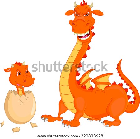 Mother and baby fire dragon hatching - stock photo