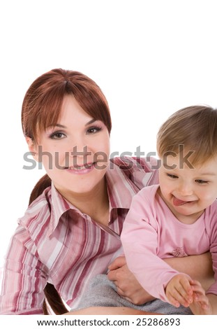 mother and baby girl isolated