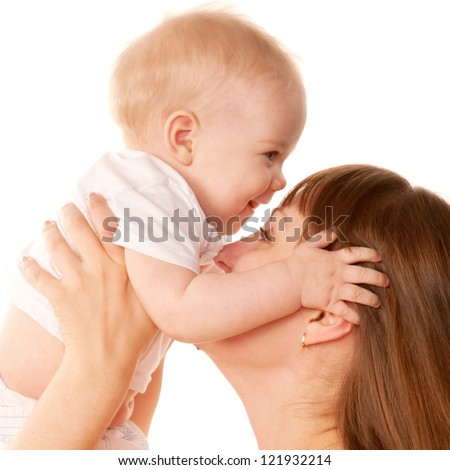 Mother and baby kissing. Motherhood concept.  Isolated on white background. - stock photo