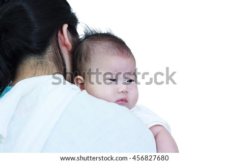Mother and baby, Lovely asian girl resting on her mother's shoulder. Isolated on white background. Happy family spending time togetherness. Mother's Day celebration. - stock photo