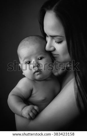 Mother and baby. Mom's love and tenderness. Happy family - stock photo