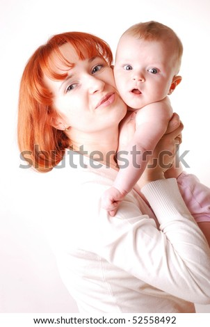 Mother and baby. Over white background