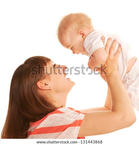 Mother and baby playing together. Happy family. Isolated on white background.