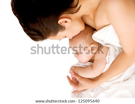 Mother and baby sleeping peacefully. Isolated on white background. - stock photo
