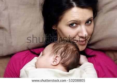 Mother and baby son - stock photo