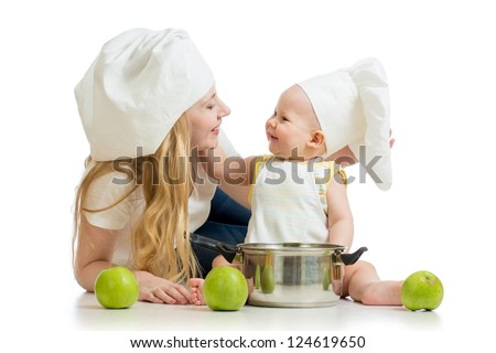 mother and baby with green apples isolated on white background - stock photo