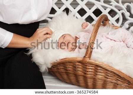 mother and basket with newborn baby - stock photo