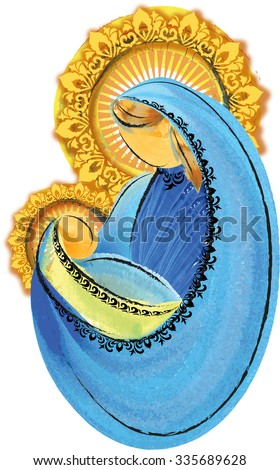 Mother and child, blessed virgin mary with baby jesus holy family Christmas nativity simple abstract illustration - stock photo