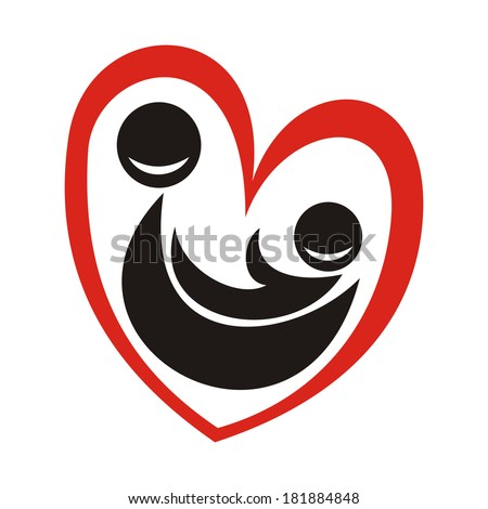 Mother and child heart vector illustration - stock photo
