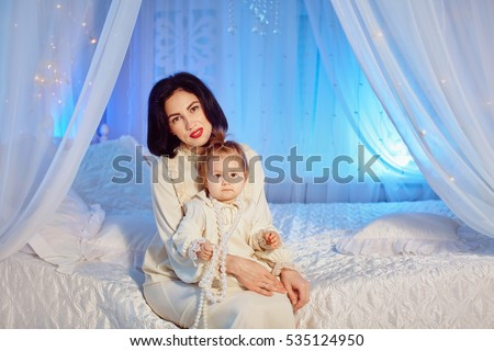 mother son nightie on bed stock photo 524685937 shutterstock. Black Bedroom Furniture Sets. Home Design Ideas