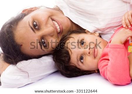Mother and child playing closeup Mumbai, Maharashtra, India, Southeast Asia. - stock photo