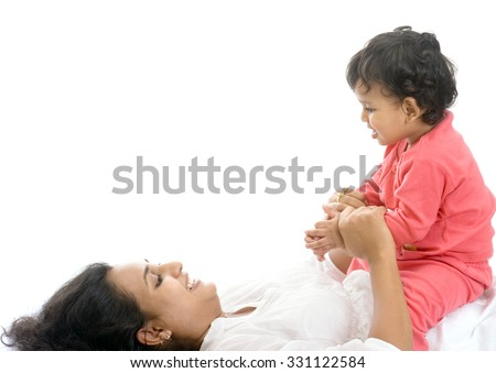 Mother and child playing isolated on white background Mumbai, Maharashtra, India, Southeast Asia.
