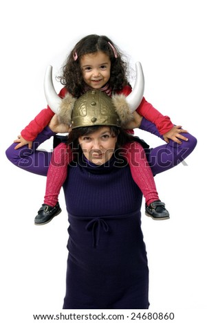 mother and child playing over white background - stock photo