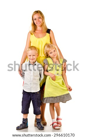 mother and children isolated on a white background - stock photo
