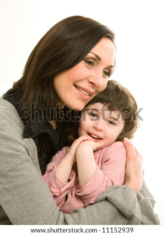 mother and daughter, best friends - stock photo