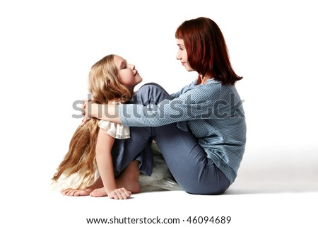 Mother and daughter. child talk - stock photo