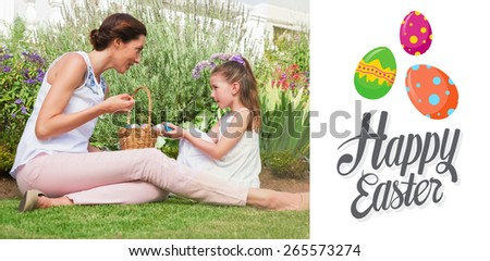 Mother and daughter collecting easter eggs against happy easter - stock photo