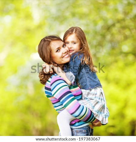 Mother and daughter enjoy the early spring. Mother day.
