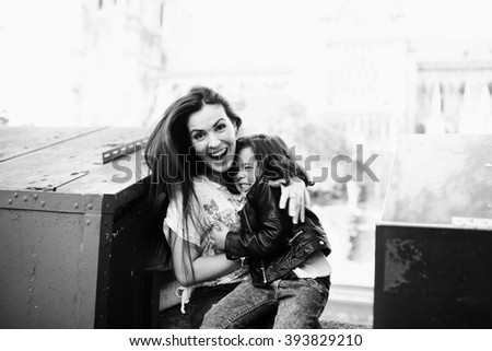 mother and daughter happily spend together - stock photo