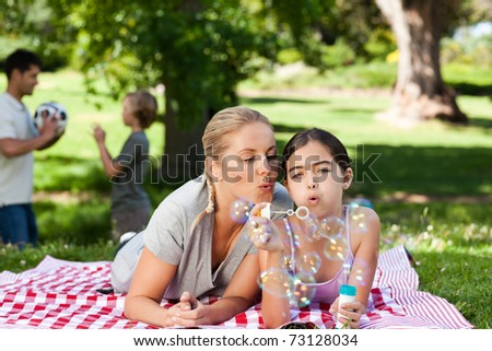 Mother and daughter having fun