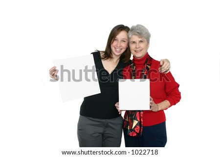 Mother and Daughter Holding Blank Cards - stock photo