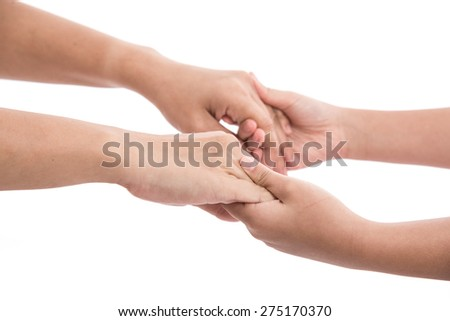 Mother and daughter holding hands on white background isolated