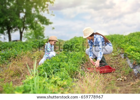 Mother and daughter in strawberry field