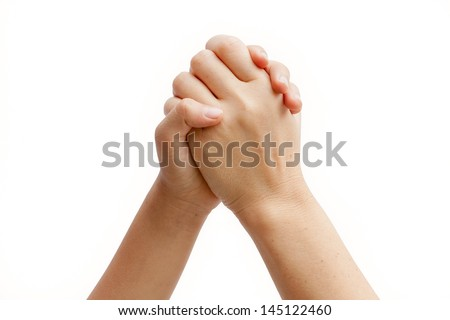 Mother and Daughter is holding hands. Taken on a clean white background. - stock photo