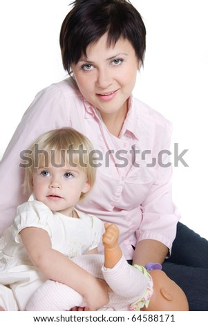 mother and daughter isolated over white - stock photo