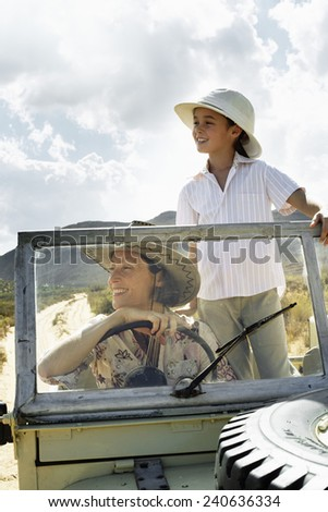 Mother and Daughter on Safari - stock photo