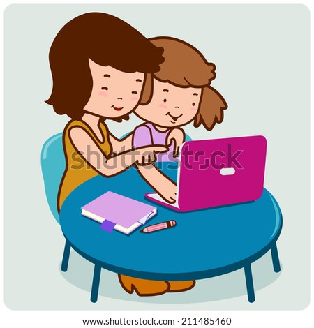 Mother and daughter on the computer. - stock photo