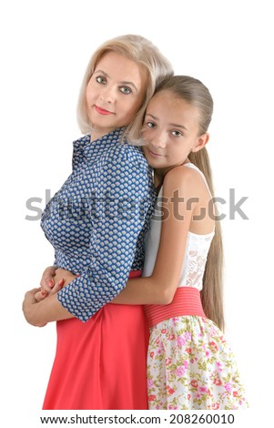 Mother and daughter on the white background - stock photo