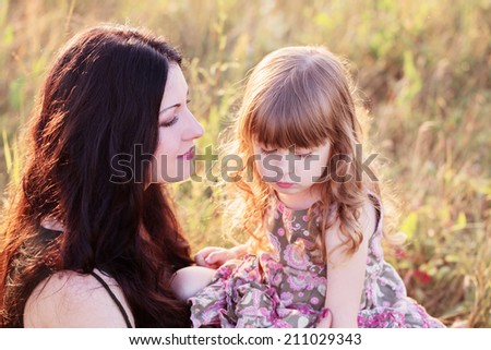 Mother and daughter outdoor