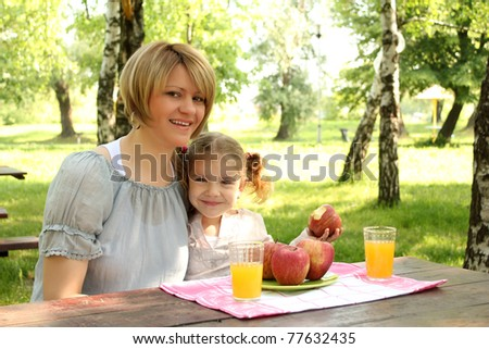 mother and daughter picnic