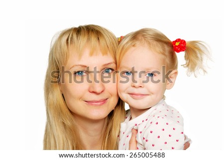 Mother and daughter portrait. Faces close up. Isolated on white background - stock photo