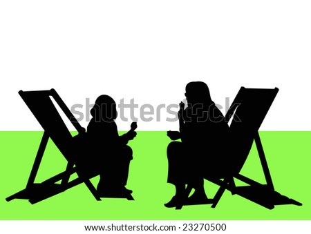 mother and daughter sitting on deckchairs in park - stock photo