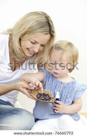 mother and daughter with bach flowers