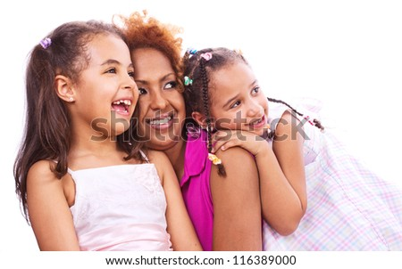 Mother and daughters, isolated on white - stock photo