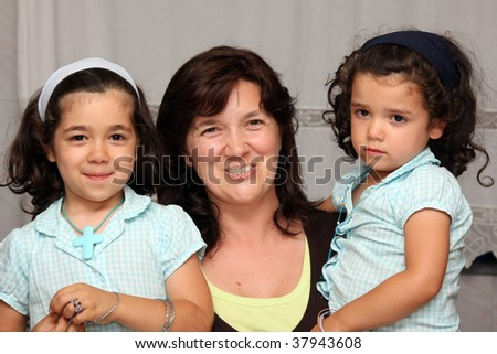 mother and daugther, family photo - stock photo