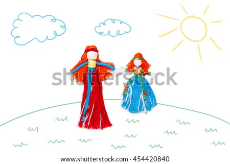 Mother and dougter holding hands on children color sketch background. Family, femininity concept - stock photo