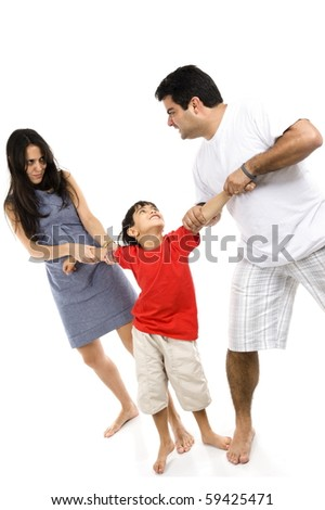 Mother and Father fighting for custody of the child - stock photo