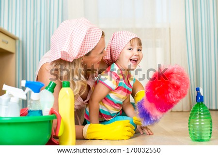 mother and her daughter ready to room cleaning