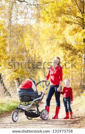 mother and her daughter with a pram on walk in autumnal alley