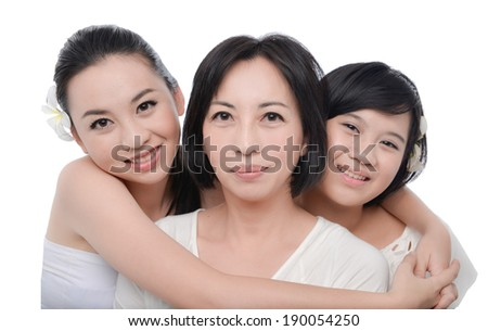 Mother and her daughters having good time  - stock photo