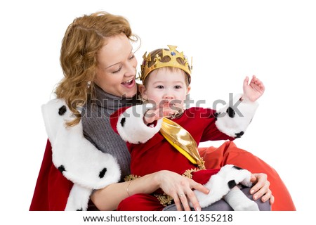 Mother and her son in suit of Christmas king isolated on white - stock photo